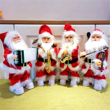 Fashion New 30cm Electric Santa Claus With Musical instrument Music Plush Doll Decoration Ornaments Kids Toys Christmas gifts
