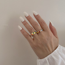 AOMU-Anillos abiertos de corazón de amor Vintage de Corea para mujer, anillo colorido esmaltado bohemio fiesta, redondo geométrico, ajustable