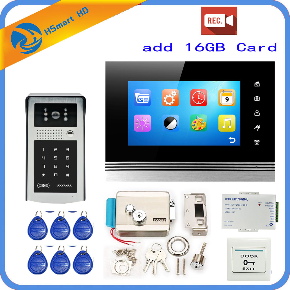 7'' Wired Touch Screen Record Video Door Phone System 1 Indoor Monitor HD Outdoor Camera Support RFID Password Unlock