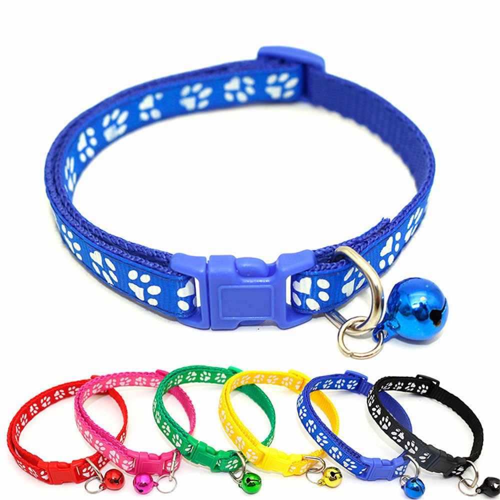 Neue Nette Cartoon Pet Halsbänder Welpen Einstellbare Polyester Halskette Schöne Mit Glocken Druck Katze Hund Halskette Kragen Versorgung