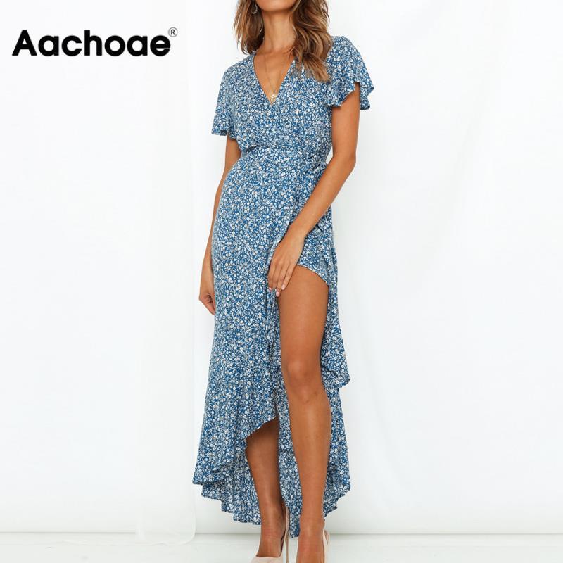 Aachoae Women Long Maxi Dress Boho Style Floral Print Beach Dress Short Sleeve Sexy Side Split Summer Dress Sundress Vestidos