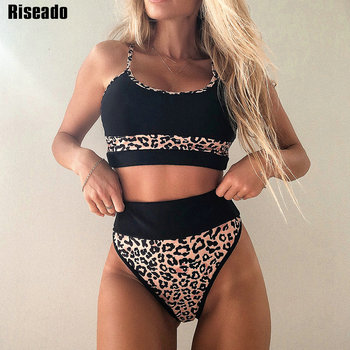 Riseado Push Up Bikini High Waist Swimwear Women Swimsuit 2021 Leopard Patchwork Beachwear High Cut Biquini Strap Bathing Suit riseado leopard bikini 2020 halter swimsuit women push up beachwear high waist bathing suit knotted biquini tie waist swimwear