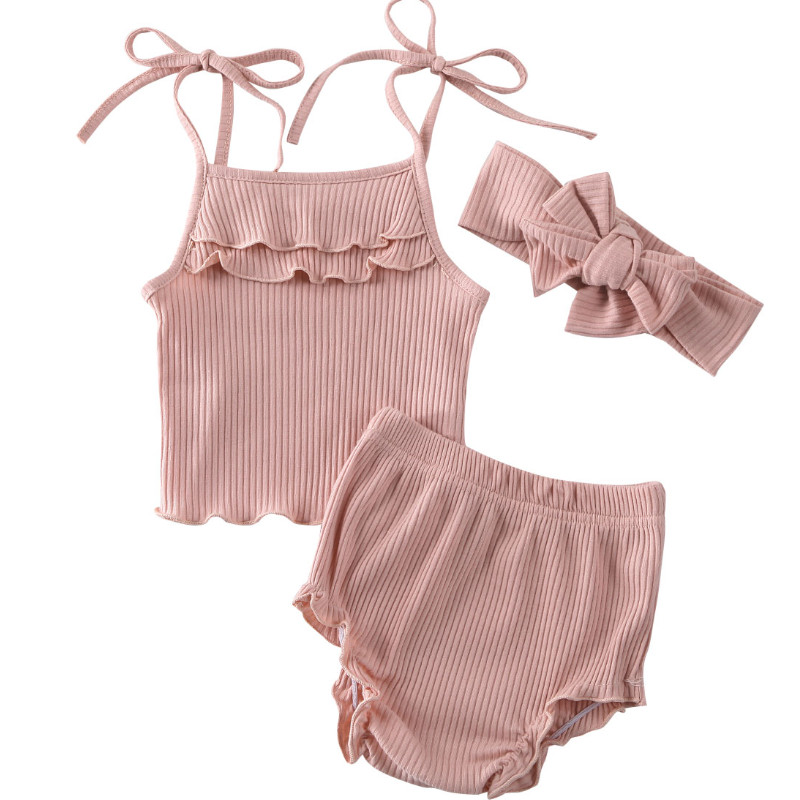 CANIS Newborn Kid Baby Girl Spaghetti Strap Ruffles Solid Color Sassy Sling Vest Short Pants Outfits Clothes Summer