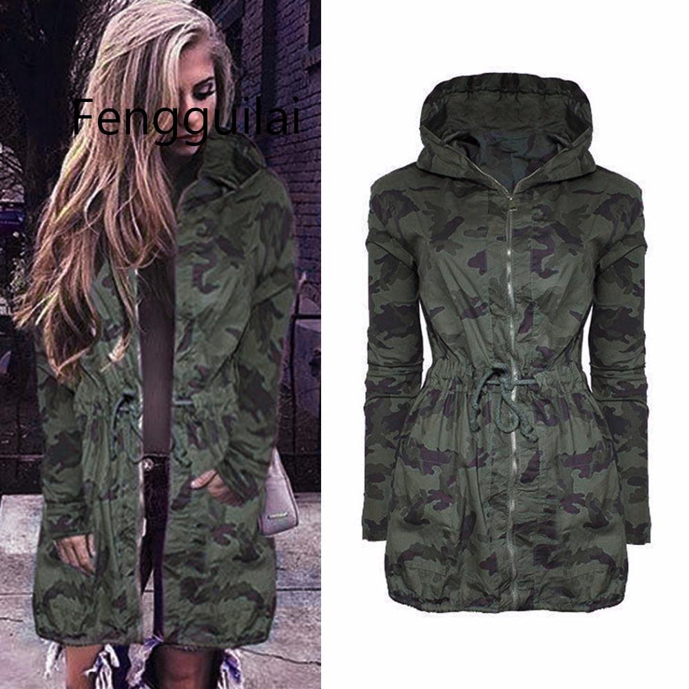 Fall 2019 Women Camouflage Long Coat Fashion Drawstring Zipper Slim Hooded Jacket Spring Autumn Long Sleeve Hip Hop Camo Outwear
