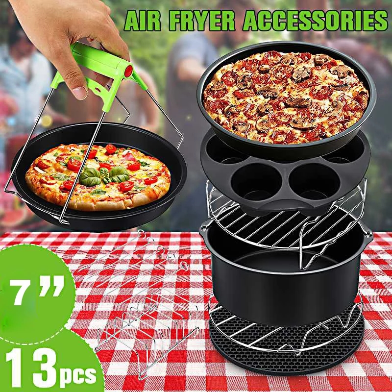 13pcs Air Fryer Accessories 7 Inch Fit for Airfryer 5.2 6.8QT Baking Basket Pizza Plate Grill Pot Kitchen Cooking Tool for Party