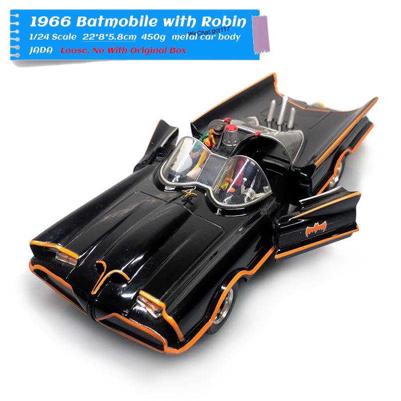 JADA 1/24 Scale Car Model Toys DC 1966 Batmobile With Robin Diecast Metal Car Model Toy For Gift,Kids,Collection