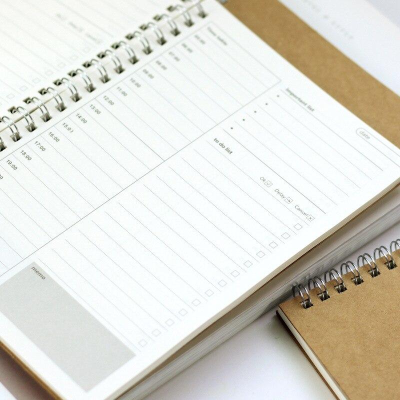 Cuaderno de bobina de Plan de tiempo 19*13cm Calendario de bricolaje + lista de planificación libro 48 hojas suministros de oficina escolar 6 estilos creativos A5 A6 A7 cuaderno de colores Índice Página mate cubierta espiral planificador diario papel nota libro páginas papelería