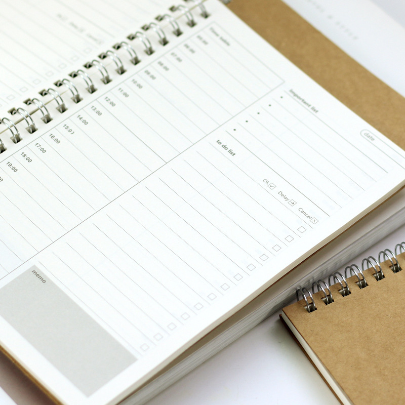 Time Plan Coil Notebook 19*13cm DIY Timetable+To Do List Plan Book 48 Sheets School Office Supplies