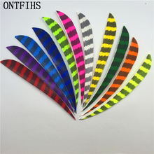 50pcs 5 Water Drop Shape Striped Fletching Feathers Archery Hunting And Shooting Arrow Feather Real Turkey A-259