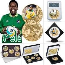 O rei do futebol pele banhado a ouro moeda comemorativa conjunto com titular da moeda de futebol desafio moedas lembrança presente para ele