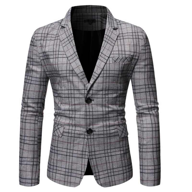 Lente Herfst Luxe Blazer 2019 Casual Business Katoen Slim Fit Pak jas Heren Plus Size M-5XL Plaid Blazer