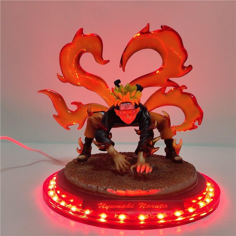 Anime Figure Ninetales Naruto LED Strip Night Light Uzumaki Naruto Red Effect LED Decorative Lamp For Home Christmas Gifts