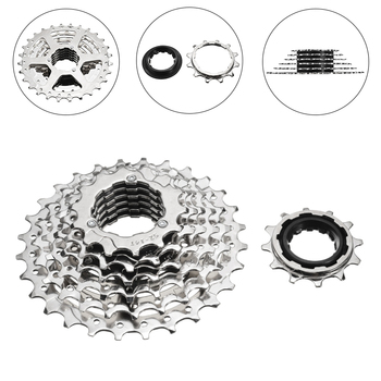 цена на Bike Cassette 7 Speed 12-28T Hybrid Mountain Bike Cycling Rear Freewheel Cog Cassette Bicycle Parts Accessories Silver