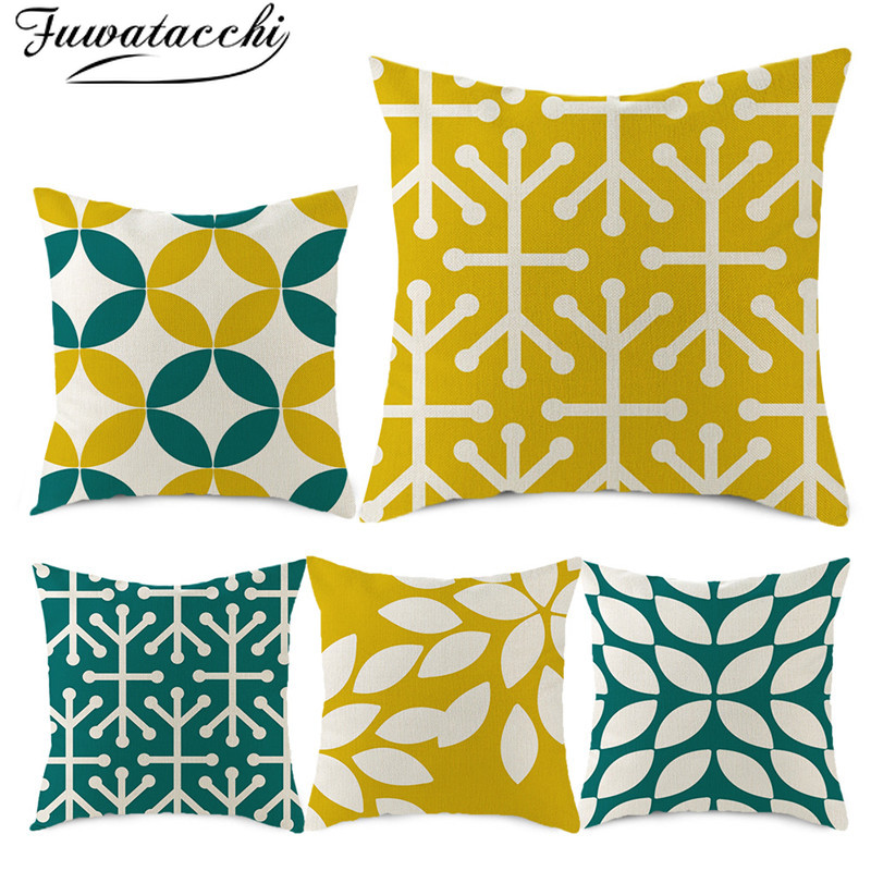 Fuwatacchi Pure Linen Cushion Cover Nordic Geometric Style Pattern Pillow Cover For Home Chair Sofa Decorative Pillowcases 45*45
