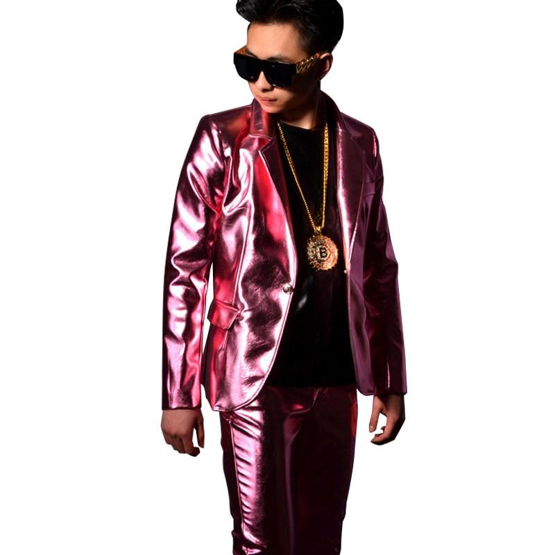 Комплект из 2 предметов, мужской розовый костюм из искусственной кожи, куртка, брюки, мужская мода, хип-хоп, приталенное кожаное пальто, Одежд...