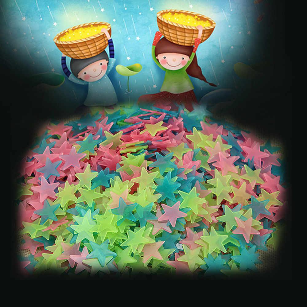 2020 3D Stern und Mond Energie Lagerung Fluorescent Glow In The dark Luminous auf Wand Aufkleber für Kinder wohnzimmer zimmer Aufkleber