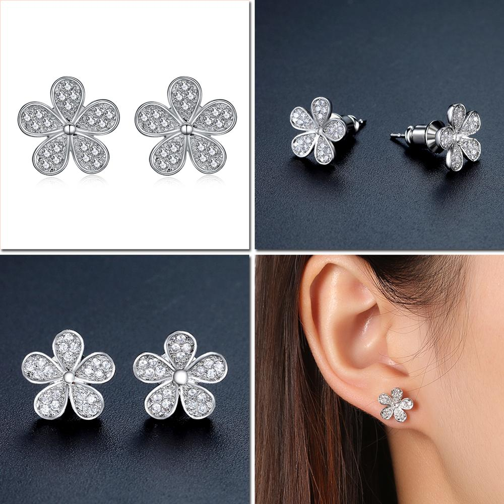 Купить с кэшбэком UMODE Fashion CZ Crystal Round Heart Stud Earring for Women Flower Star White Gold Color Wedding Engagement Girl Jewelry AUE0012