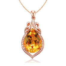 Fashion Women Rose Gold Natural Gem Charm Pendant Big Water Drop Yellow Pendants DIY for Necklace or Jewelry Making Accessories graceful faux gem cross clover water drop charm bracelet for women