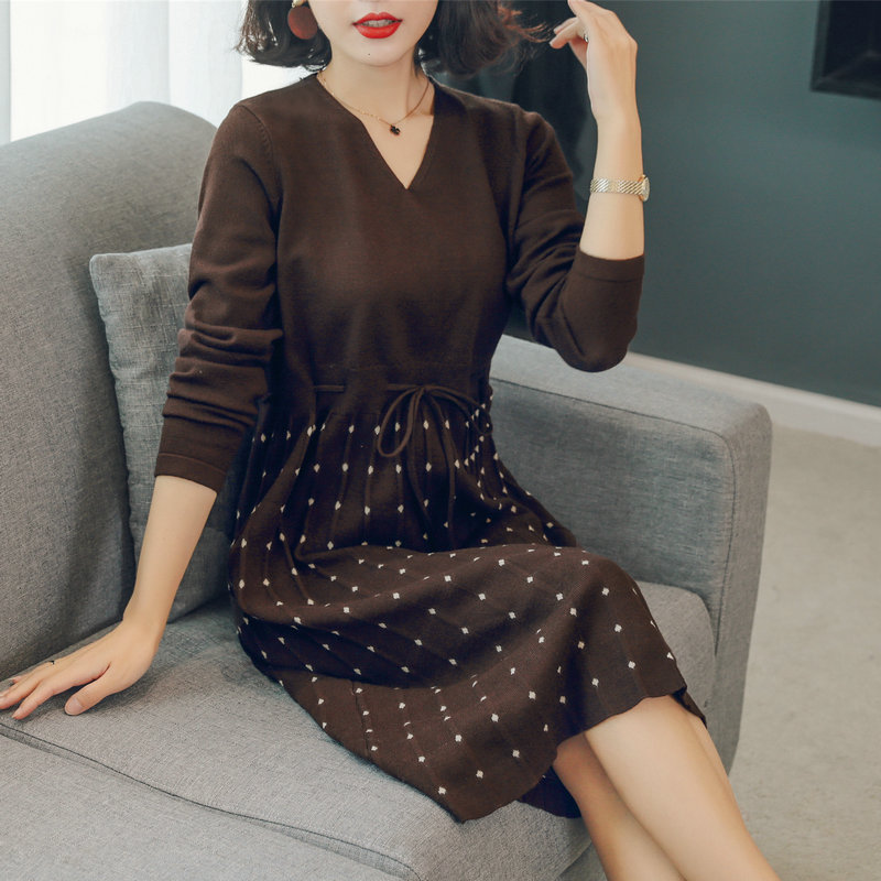 Femmes élégant tricoté robes noir Caramel à pois motif v-cou laçage jusqu'à taille réglable une pièce robe automne hiver