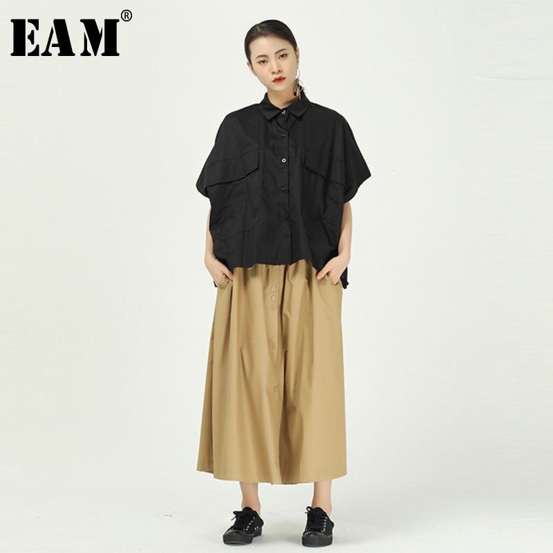[EAM] Women Black Big Pocket Split Big Size Blouse New Lapel Half Sleeve Loose Fit Shirt Fashion Tide Spring Summer 2020 1T641