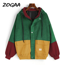 ZOGAA Autumn Outerwear & Coats Jackets Long Sleeve Corduroy Patchwork Oversize Zipper Jacket Windbreaker coats and jackets women цена и фото