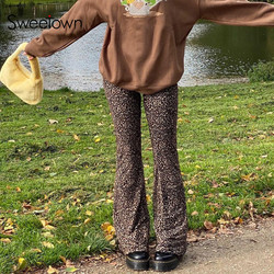 Sweetown Brown Leopard Y2K Joggers Women High Waist Flare Pants Double Layer Mesh E Girl Aesthetic Trousers Female Sweatpants