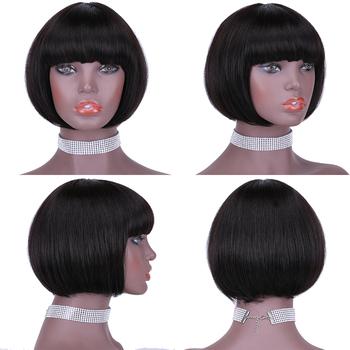 100 peruki z ludzkich włosów proste krótkie peruki w stylu bob dla czarnych kobiet Riverwood brazylijski Remy włosy maszyna wykonana peruka z grzywką tanie i dobre opinie Brazylijski włosy Średnia wielkość Jasny brąz Ciemniejszy kolor tylko Swiss koronki