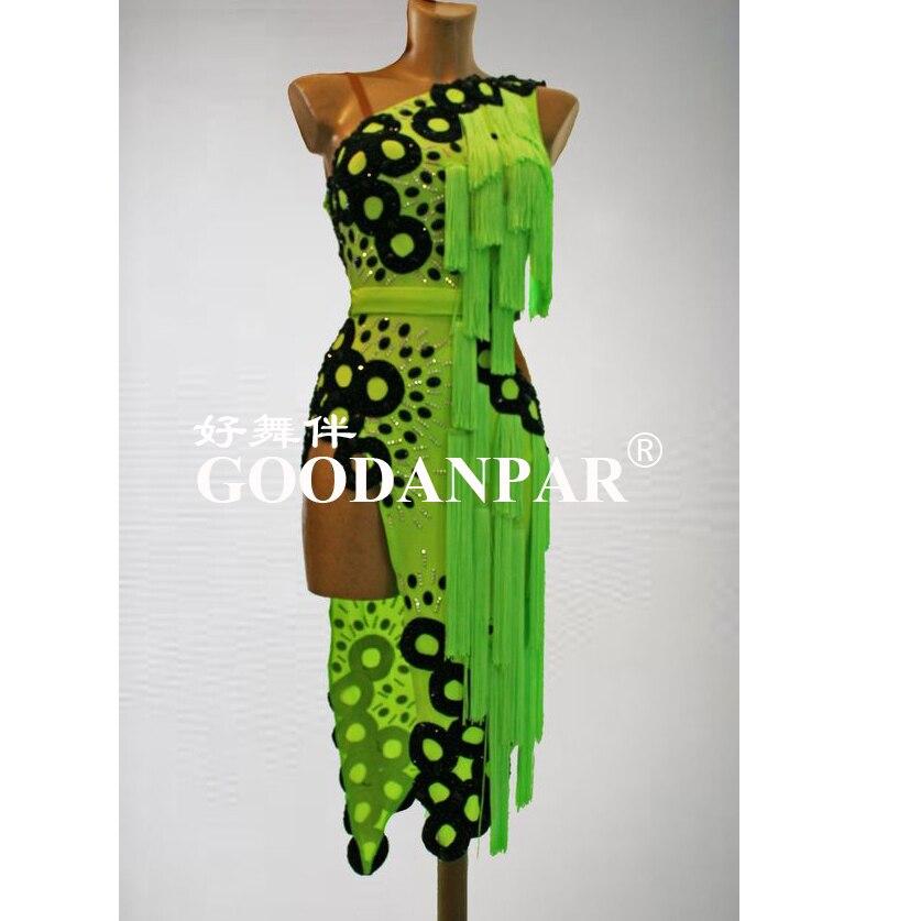 GOODANPAR New Style Sexy Latin Dance Dress Women Girls  Lycra Dance Wear Salsa Samba Rumba Custom-made One Shoulder