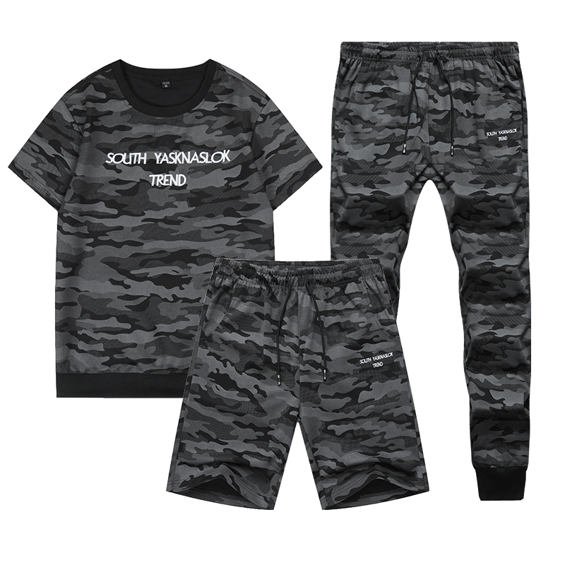 2020 New Summer Sportswear Tracksuit Men Camouflage Sweat Suits Short Sleeve T-shirt+Shorts+Pants 3 Piece Set Track Suit