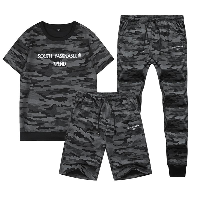 2020 New Summer Sportswear Tracksuit Men Camouflage Sweat Suits Short Sleeve T-shirt+Shorts+Pants 3 Piece Set Track Suit