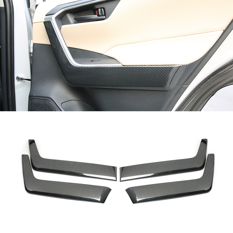 For Toyota <font><b>RAV4</b></font> XA50 2019 <font><b>2020</b></font> ABS Interior Side Door Armrest Stripe Decoration Cover Trim 4PCS Car Accessories image
