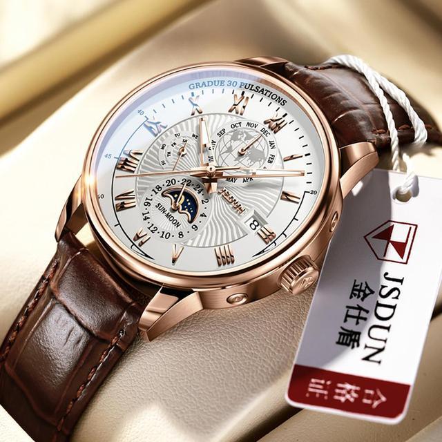 Men Mechanical Watch Top Brand Luxury Automatic Watch Leather Waterproof Sports Moon Phase Wristwatch relogio masculino 2