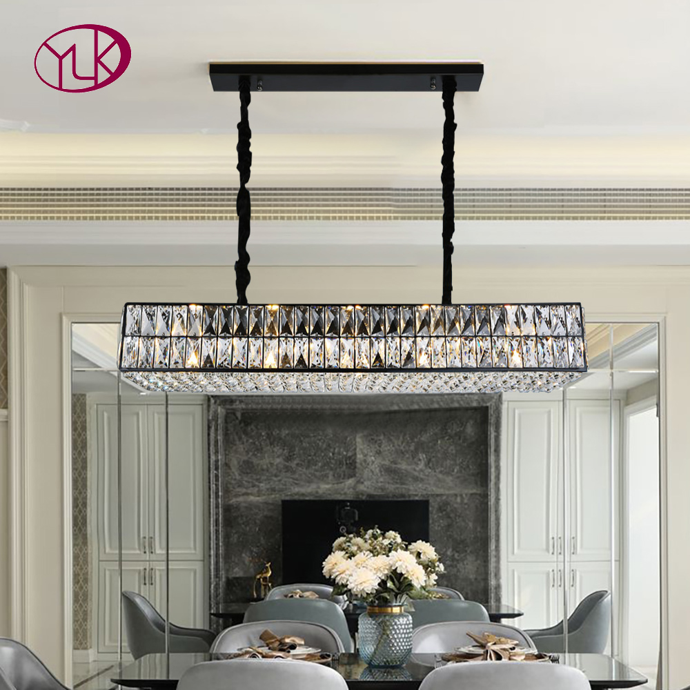 Rectangle Chandelier Lighting For Dining Room Luxury Crystal Light Fixture Modern Kitchen Island Led Hang Lamp Chandeliers Aliexpress