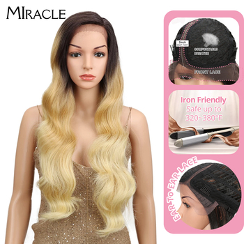 Miracle Ombre Wig Body Wave Side Part Lace Front 150 Density 28 Inches Long Blonde Heat Resistant Synthetic Wigs For Black Women elegant blonde side bang capless long big wave heat resistant synthetic wig for women