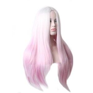Image 3 - Woodfestival feminino resistente ao calor ombre peruca sintética longo cabelo reto cosplay perucas para mulher