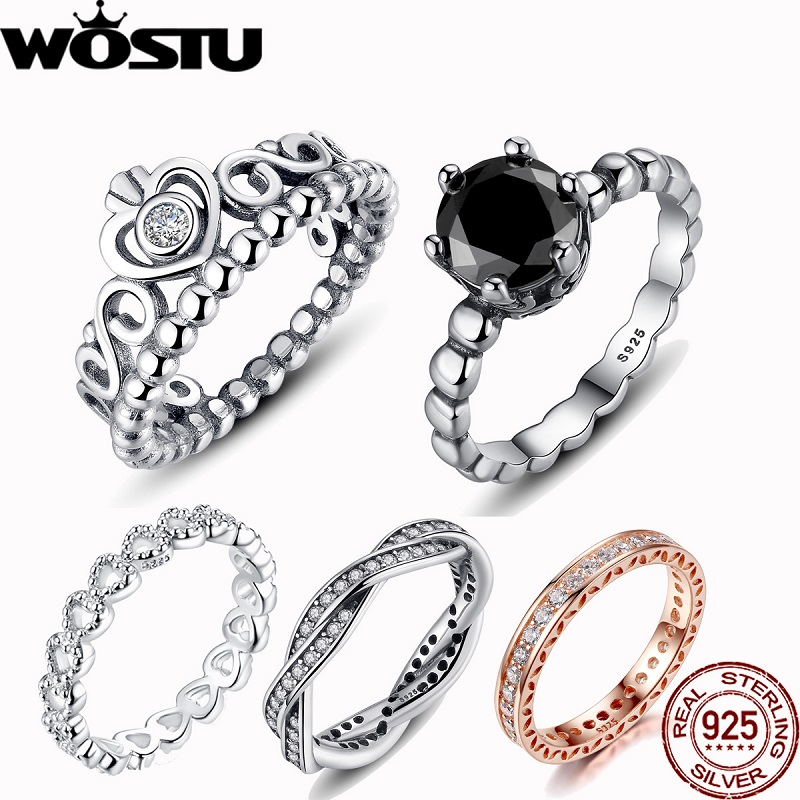 WOSTU Hot Sale 100% Real 925 Sterling Silver Crown Simple Rings Compatible With Original WST Lucky Ring Jewelry Dropshopping