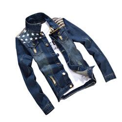 Masculino casacos de vestuário de marca masculina denim jaquetas moda bolso estrela & listrado fino ajuste jean jaqueta