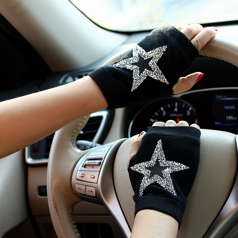12 Design Winter Gloves Rhinestone Starfish Heart Half Finger Gloves Women Warm Knitted Cheap Mittens For Girls Gants Femme