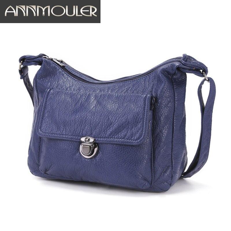 Annmouler New Fashion Women Bag Pu Leather Shoulder Bag Washed Soft Crossbody Bag For Girls Large Pockets Messenger Bag Purse