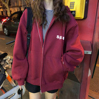 Korea Hoodies Women Korean Style Students Loose Large Ulzzang All match Simple Fashion Letter Printed Zip up Womens Sweatshirts
