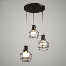 Loft Vintage Hanging Lamps Iron Cage Pendant Lights Retro Home Deco Suspension Luminaires Kitchen Light Fixtures Bar E27 Lights