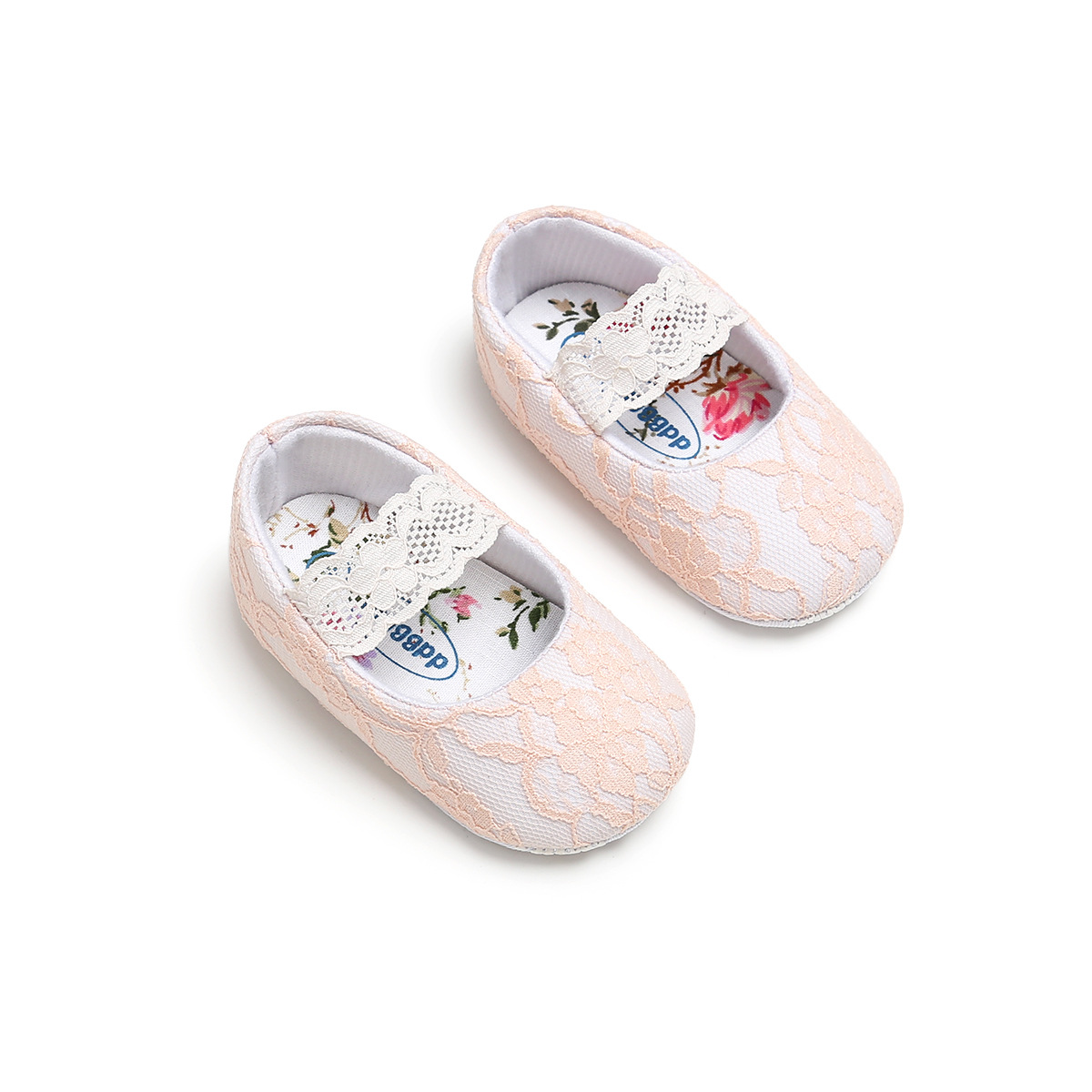 B&G Lace Toddler Walking Shoes Baby Girl Princess Shoes Soft Anti-slip Babyfirst Walkers