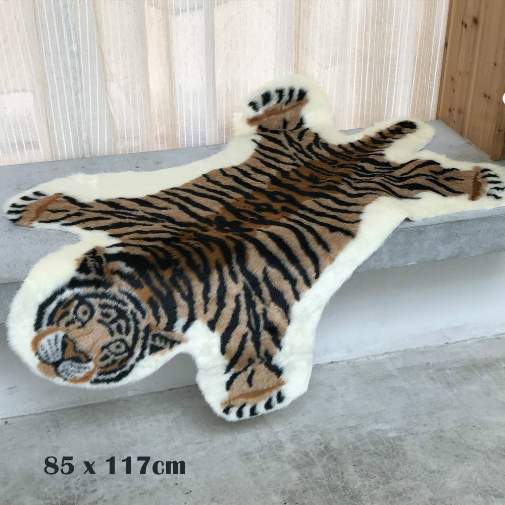 Tiger Shape Modern Faux Fur Rug Animal Pattern Floor Mat Carpet Bedroom Living Room Home Decor 85x117cm