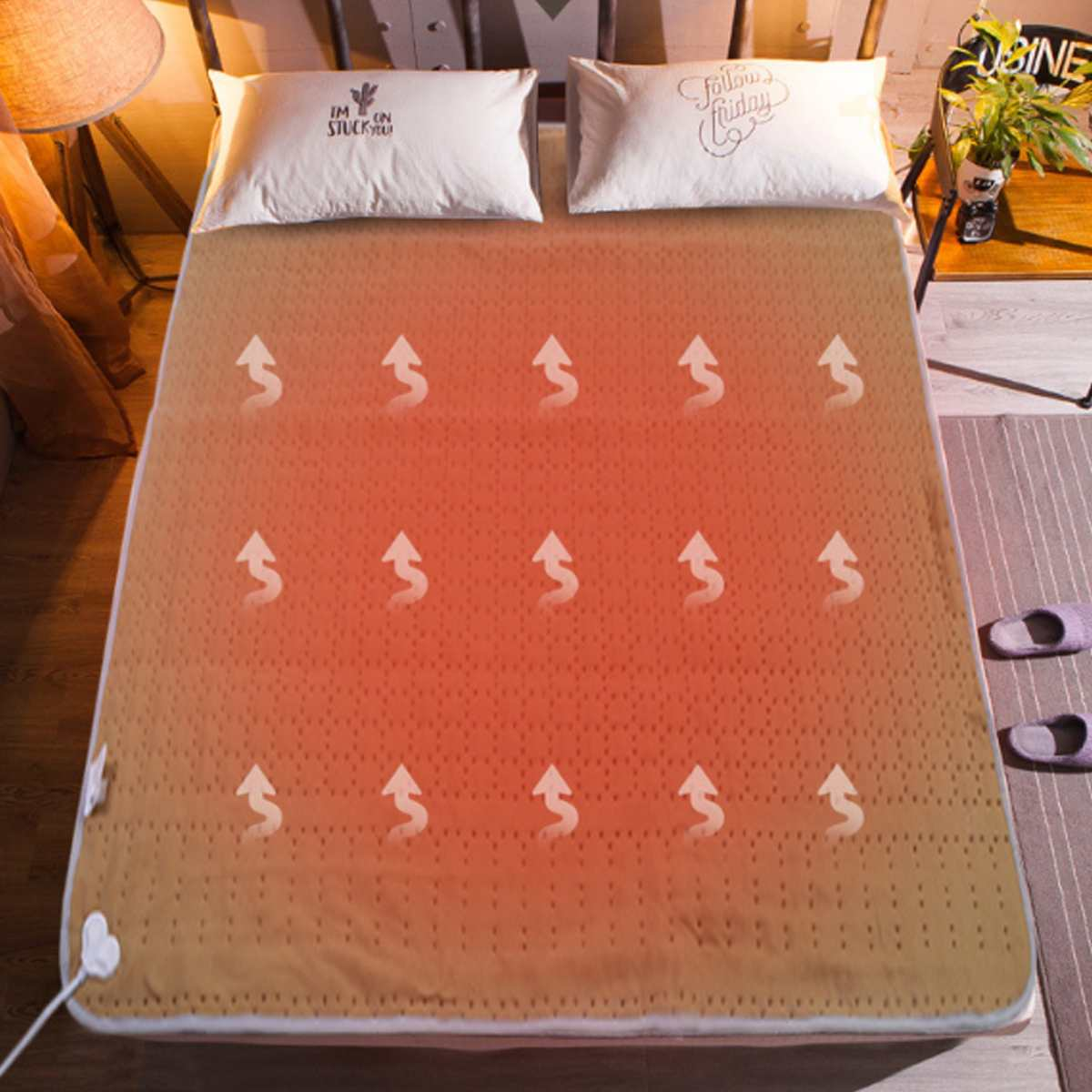 Electric Blanket Mat 220V Auto Electric Heated Blanket Mat Waterproof Heating Carpet 4 Gears Electric Heater Mattress