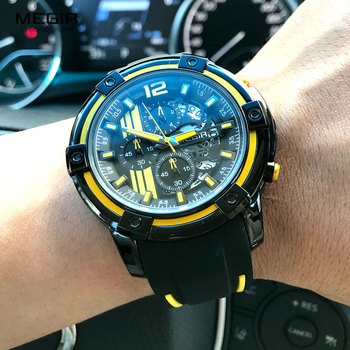 Megir Men's Black Silicone Strap Quartz Watches Chronograph Sports Wristwatch for Man 3atm Waterproof Luminous Hands 2097 Yellow 4