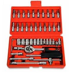 46 szt. Klucz kombinowany klucz nasadowy klucz nasadowy śrubokręt do gospodarstwa domowego motocykl samochodowy narzędzia do napraw ręcznych w Zestawy narzędzi ręcznych od Narzędzia na