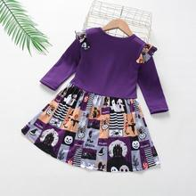 Kids Dresses For Girls Baby Long Sleeve Demon Letter Printed Halloween Princess Dress