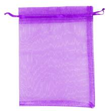 Premium Organza Gift Bags Jewellery Pouches XMAS Wedding Party Candy Bags Colour:Dark Purple Size:15CM x 20CM 25pcs(China)