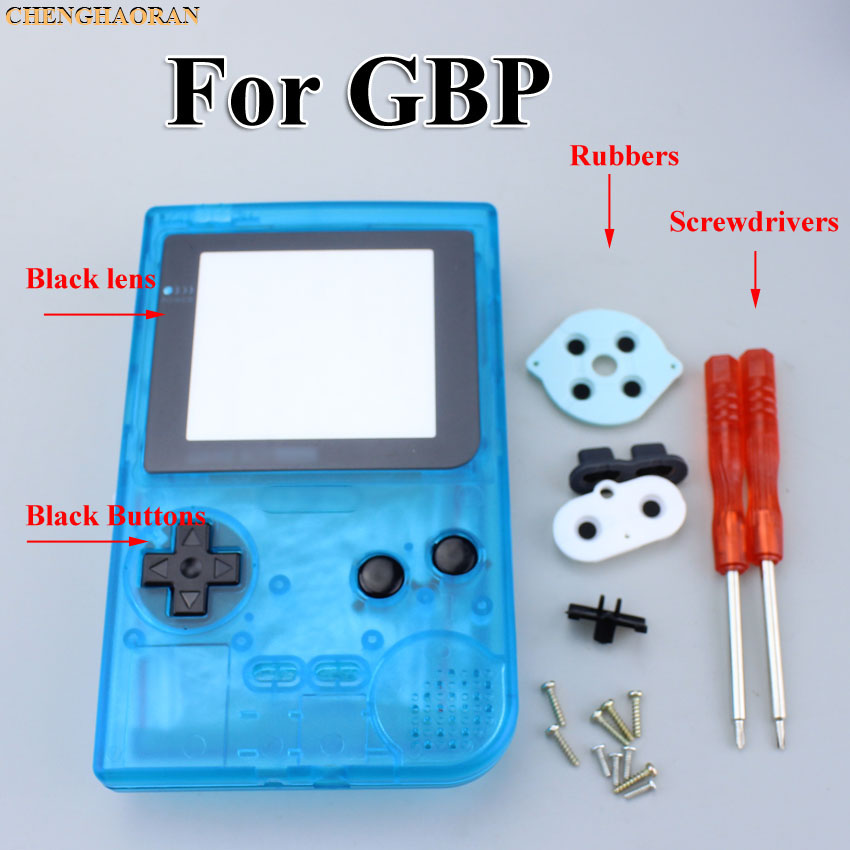 Clear Blue Purple Full Housing Shell case cover For Gameboy Pocket Game Console Screwdriver Rubber Silver lens White Buttons Kit