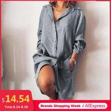2020 ZANZEA Women's Blouse Casual Shirt Vestidos Fashion Button Long Sleeve Shirts Female Lapel Work Blusa Plus Size Tunic S-5XL